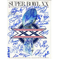 1985 Bears Super Bowl XX Game Program Team-Signed by (30) with Mike Ditka, Jim McMahon, Mike Singlet