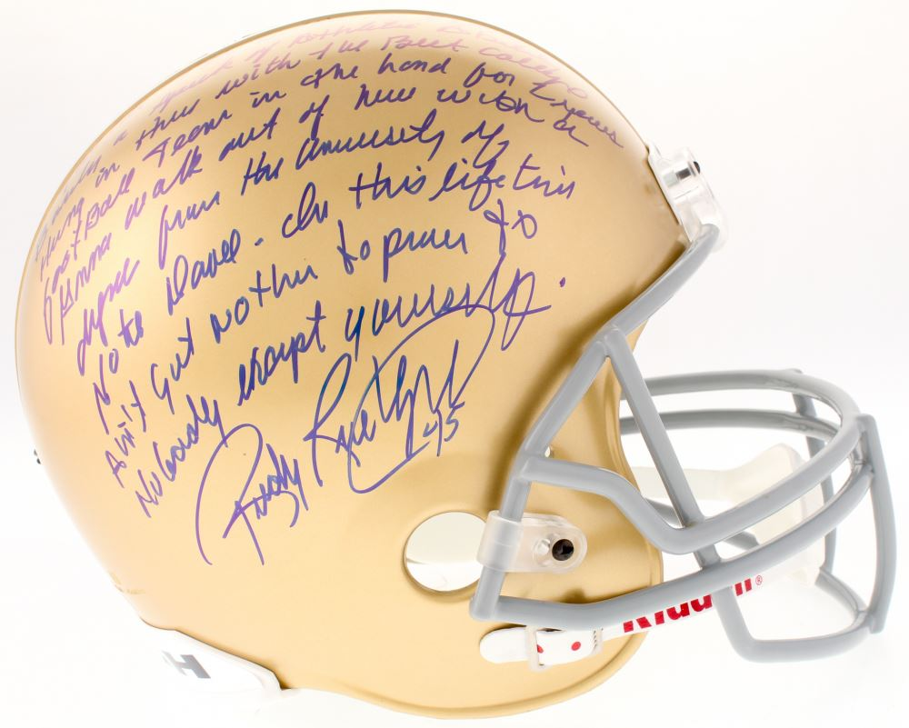 59bb97d4cc5 ... Five Foot Nothin . Image 1   Rudy Ruettiger Signed Notre Dame Fighting  Irish Full-Size Helmet with