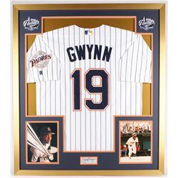Tony Gwynn Signed Padres 32x36 Custom Framed Cut Display (PSA)