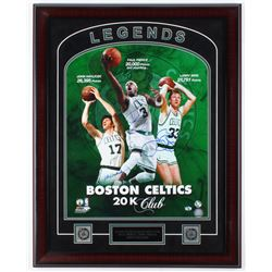 Larry Bird, John Havlicek,  Paul Pierce Signed Celtics 23x29 Custom Framed Photo Display (JSA COA  B