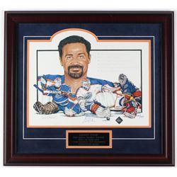 Grant Fuhr Signed Oilers 21x23 Custom Framed Lithograph Display LE #300/500 (Bobby Orr COA)