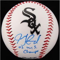 """Jon Garland Signed OML White Sox Logo Baseball Inscribed """"05 W.S. Champs"""" (Schwartz COA)"""