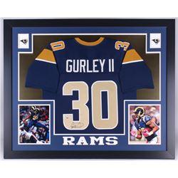 Todd Gurley Signed Rams 35x43 Custom Framed Jersey (Beckett COA)