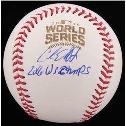 "Carl Edwards Jr. Signed 2016 World Series Baseball Inscribed ""2016 WS Champs"" (Schwartz Sports COA"