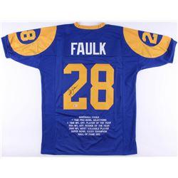 Marshall Faulk Signed Rams Career Highlight Stat Jersey (Beckett COA)