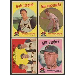Lot of (4) 1959 Topps Pittsburgh Pirates Baseball Cards with #190 Bill Virdon, #415 Bill Mazeroski,