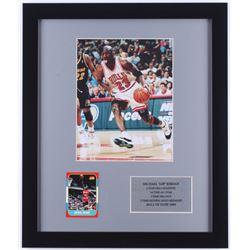 Michael Jordan Bulls 16x19 Custom Framed Photo Display With 1996-97 Fleer Decade of Excellence #4 Mi
