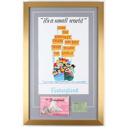 "Disneyland Fantasyland ""It's A Small World"" 17x26 Custom Framed Print Display with Vintage Ticket  B"