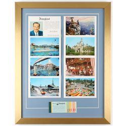 """Vintage """"This is Disneyland"""" 18x23 Custom Framed Postcard Display with Vintage Disneyland Ticket Boo"""