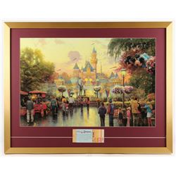 "Thomas Kinkade Disneyland ""Disneyland's 50th Anniversary"" 25x32 Custom Framed Print Display WIth Cou"