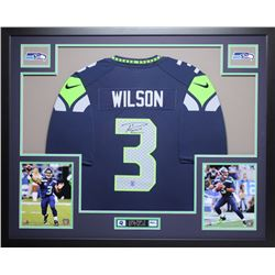 "Russell Wilson Signed Seahawks 35"" x 43"" Custom Framed Jersey (Wilson Hologram)"