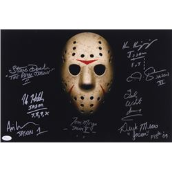 """Jason"" 12x18 Photo Signed by (8) with Kane Hodder, Tom Morga, Derek Mears, Ted White with Multiple"