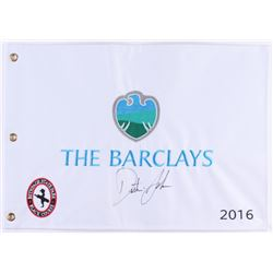 Dustin Johnson Signed 2016 The Barclays Pin Flag (JSA COA)