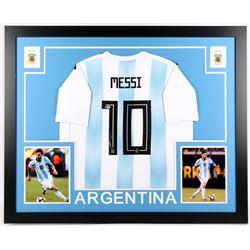 Lionel Messi Signed Argentina 35x43 Custom Framed Jersey Display (Beckett COA)