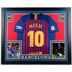 Lionel Messi Signed Barcelona 35x43 Custom Framed Jersey Display (Beckett COA)