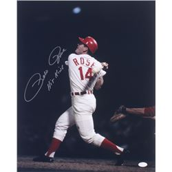 "Pete Rose Signed Reds 16x20 Photo Inscribed ""Hit King"" (JSA COA)"