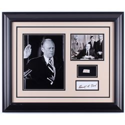 Gerald R. Ford 19.5x23.5 Custom Framed Cut Display with (1) Hand-Written Word from Letter (Beckett L