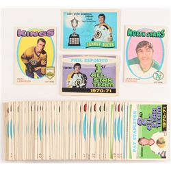 Lot of (72) 1971-72 O-Pee-Chee Hockey Cards with #253 Phil Esposito All-Star, #249 Johnny Bucyk Byng