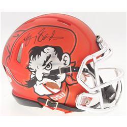 Barry Sanders Signed Oklahoma State Cowboys Custom Matte Orange Mini Speed Helmet (Schwartz COA)