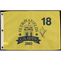 Tiger Woods Signed 2003 U.S. Open Pin Flag (JSA LOA)
