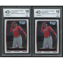 Lot of (2) 2012 Bowman Chrome Prospects #BCP112A Maikel Franco (BCCG 10)