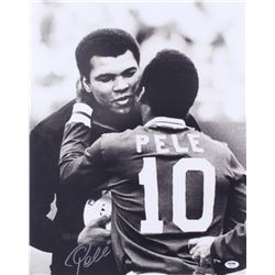 Pele Signed Cosmos 16x20 Photo with Muhammad Ali (PSA COA)