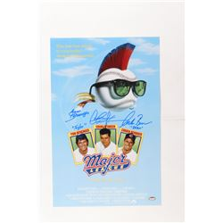 "Charlie Sheen, Tom Berenger  Corbin Bernsen Signed ""Major League"" 11x17 Photo Inscribed ""Dorn""  ""Tay"