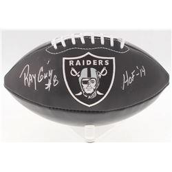 """Ray Guy Signed Raiders Logo Football Inscribed """"HOF -'14"""" (JSA COA)"""