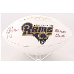 """Marshall Faulk Signed Rams Logo Football Inscribed """"SB XXXIV Champs"""" (Radtke COA)"""