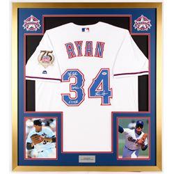 "Nolan Ryan Signed Rangers 32x36 Custom Framed Jersey Display Inscribed ""5,714 Ks"", ""324 Wins"", and """