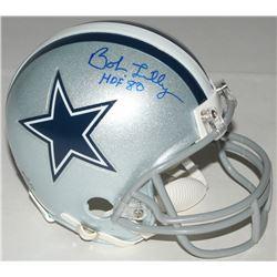 "Bob Lilly Signed Cowboys Mini Helmet Inscribed ""HOF 80"" (Schwartz COA)"