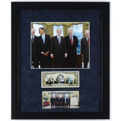 """Living Presidents"" 16x19 Custom Framed Photo Display with $2 Bill"