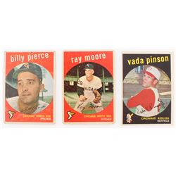 Lot of (3) 1959 Topps Baseball Cards With #448 Vada Pinson, #239 Ray Moore  #410 Billy Pierce
