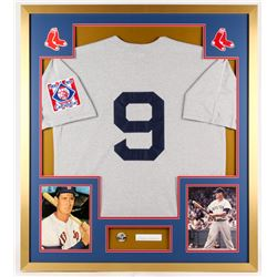 Ted WIlliams Signed Red Sox 32x36 Custom Framed Cut Display with Vintage Pin (PSA LOA)