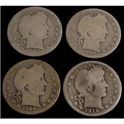 Lot of (4) Barber Quarter Dollars with 1903, 1908, 1909,  1915-D