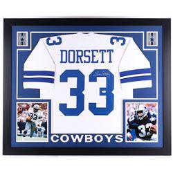 Tony Dorsett Signed Cowboys 35  x 43  Custom Framed Jersey (JSA COA)