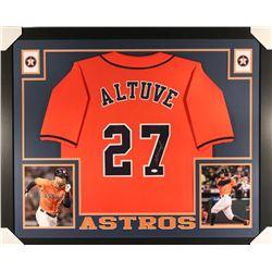 Jose Altuve Signed Astros 35x43 Custom Framed Jersey (JSA Hologram)