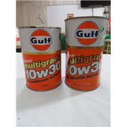 2 OIL TINS, GULF MULTI GRADE 10W30, (1 LITRE CARDBOARD & 1.14 LITRE TIN) *SOME DENTS*