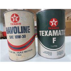 2 1 LITRE OIL TINS TEXACO TEXAMATIC F TIN, VALVOLINE 10W40 CARDBOARD