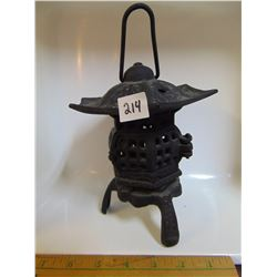 "CAST IRON BLACK PAGODA CANDLE LANTERN 6.5""T, 5""W"