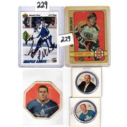 BOBBY ORR OPC, WENDEL CLARK *SIGNED*, TIM HORTON (YORK PEANUT BUTTER) CARDS AND 1960;S TWO HOCKEY TO