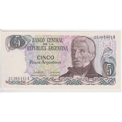 ARGENTINA 4 BANK NOTES 5, 50, 100, 500 PESOS