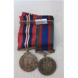 2 WWII MEDALS – CNDN SERVICE MEDAL, GEORGE VI, BRITISH EMPIRE, 1939-35 CNDN VOLUNTARY SERVICE, RIBBO