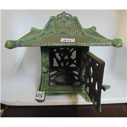 CAST IRON GREEN PAGODA CANDLE LANTERN 7 T, 7.5 W