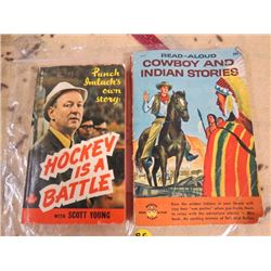 2 BOOKS, HOCKEY IS A BATTLE, COWBOY & INDIAN STORIES