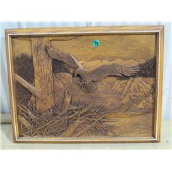 CARVED WOODEN EAGLE PICTURE, KIM MURRAY 10X14