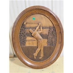 CARVED WOODEN GOLF PICTURE, KIM MURRAY OVAL 16.5X20