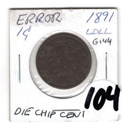 1891 LARGE CENT ERROR: DIE CHIP C