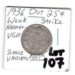 1936 DOT SCARCE 25 CENT WEAK REVERSE STRIKE