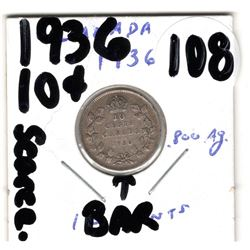 1936 SCARCE BAR DIE CRACK 10 CENT VARIETY